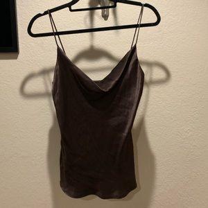 Zara chocolate silk tank top